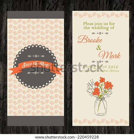 double wedding invitation with lovely flowers. vector