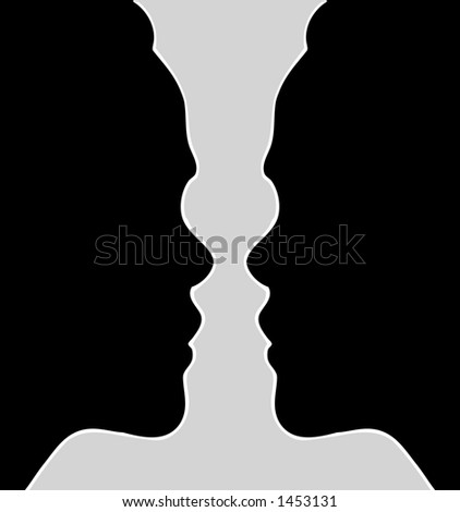 Double young woman silhouette