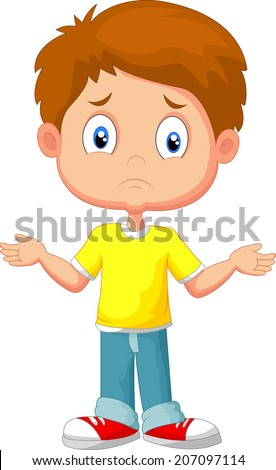 Doubtful young kid gesturing with hands - stock vector