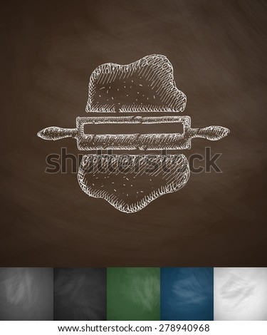 dough and rolling pin icon. Hand drawn vector illustration. Chalkboard Design - stock vector