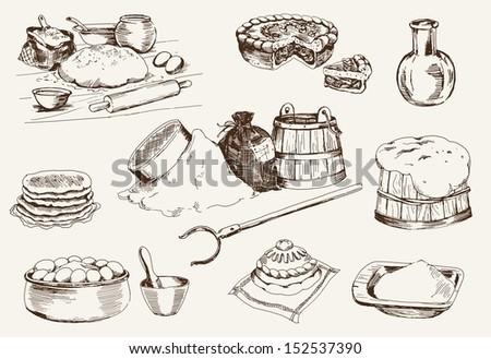 dough at home. set of vector sketches - stock vector