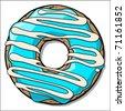 Doughnut with blue creme. Vector - stock vector