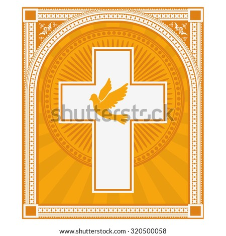 dove and a cross on a light gold background. Religion. Vector illustration. - stock vector