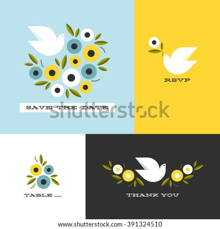 Dove and floral wreath of anemones. Flat style vector design elements - stock vector