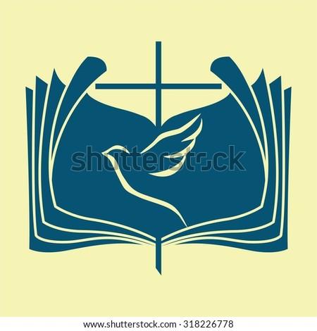 Dove, Bible, cross - stock vector
