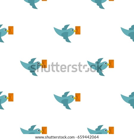 Dove carrying envelope pattern seamless flat style for web vector illustration