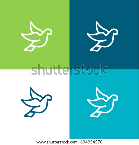 Dove green and blue material color minimal icon or logo design