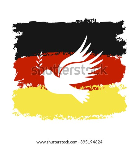 Dove of peace. Dove of Peace Vector. Peace dove, symbol of peace. Dove of Peace on the background of Germany's flag. - stock vector