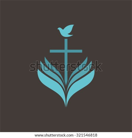 Dove on cross and Bible - stock vector