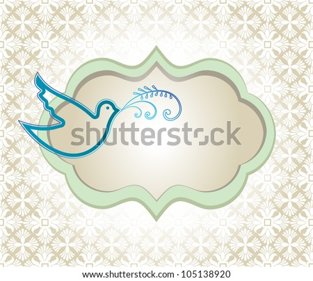 Dove placard laural with background pattern