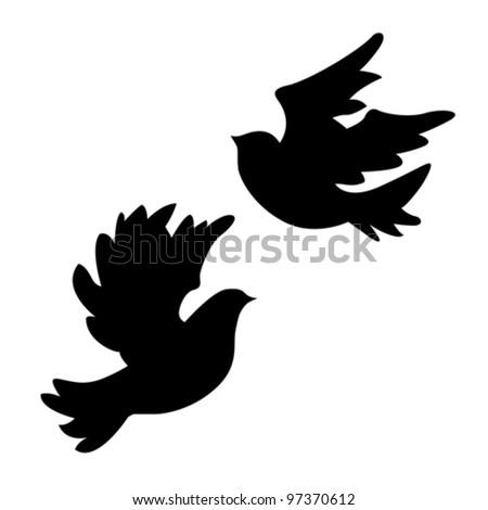 dove silhouette on white background, vector illustration - stock vector