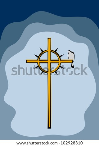 Dove sitting on a cross with a crown of thorns. - stock vector
