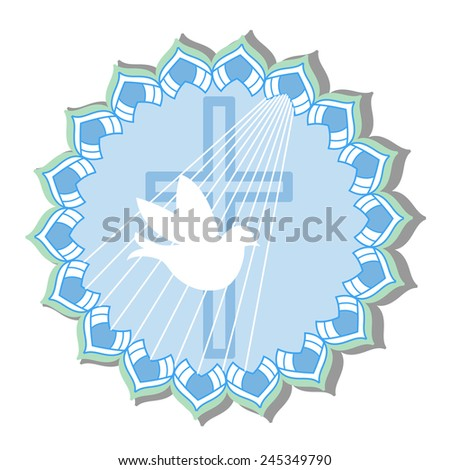 Dove with cross -    religion christening  communion  - stock vector