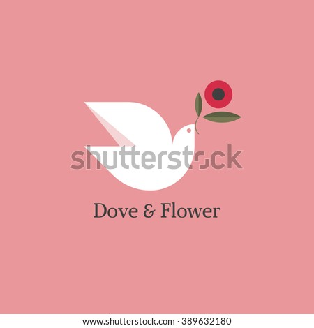 Dove with flower of anemone. Flat style vector design - stock vector