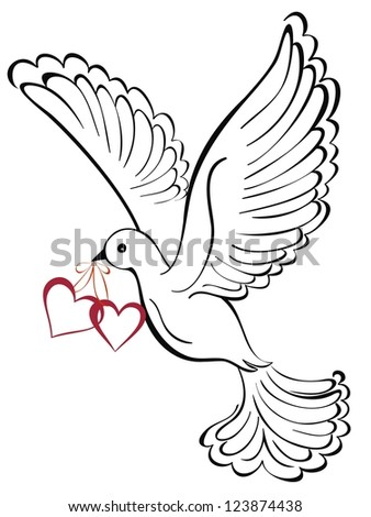 Dove with heart shaped. - stock vector