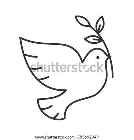 dove with olive brunch linear icon thin line illustration peace day contour symbol - Outline Pictures For Drawing