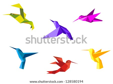 Doves and hummingbirds set in origami paper style. Jpeg version also available in gallery - stock vector