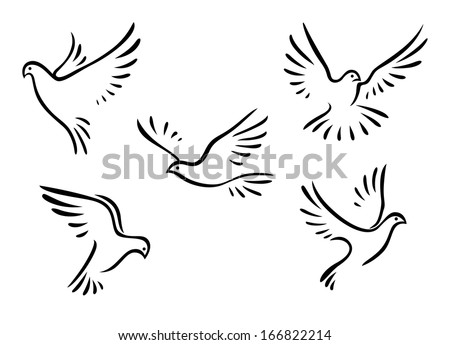 Doves and pigeons birds logo set for peace concept and wedding design - stock vector