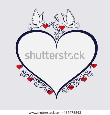Doves with heart shaped frame.