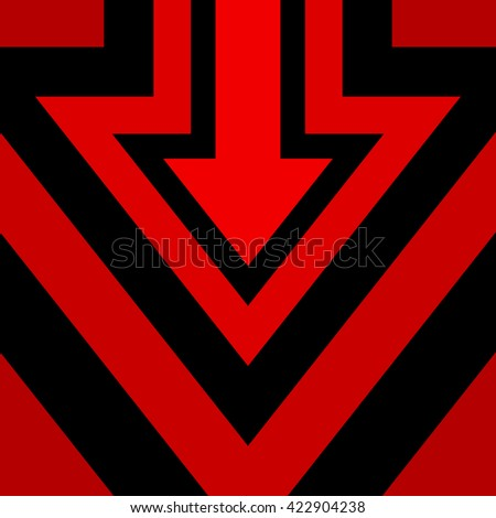 Down Arrow Background Red Black Vector Illustration - stock vector