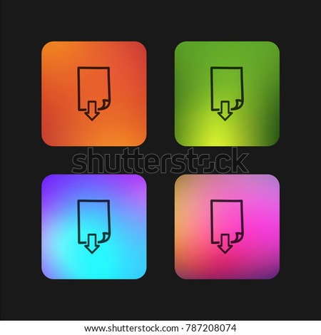Down page hand drawn symbol four color gradient app icon design