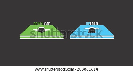 Download and upload button set on the black background - stock vector