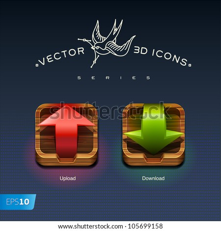 Download and Upload Buttons 3d icons, vector eps10 illustration - stock vector
