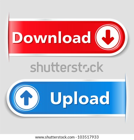 Download and Upload Buttons, vector eps10 illustration