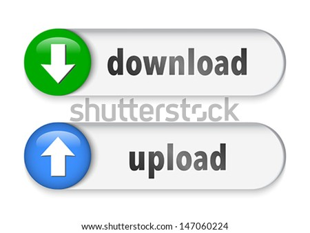Download and upload elements with arrow sign. Vector illustration