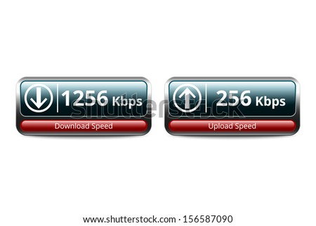 Download and upload speed test icon, vector illustration - stock vector