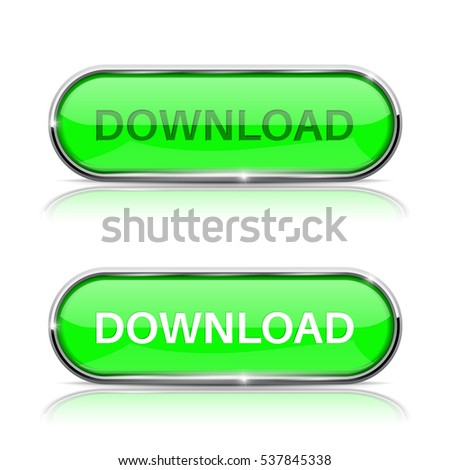 Download button. Shiny green oval web icon. Vector 3d illustration isolated on white background.
