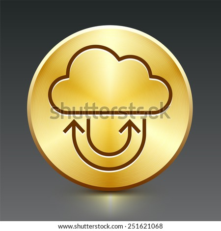 Download Cloud on Gold Round Buttons - stock vector