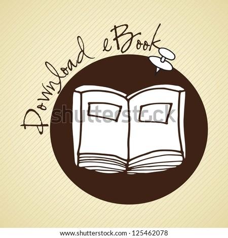 Download ebook handmade drawing button. Vector illustration - stock vector