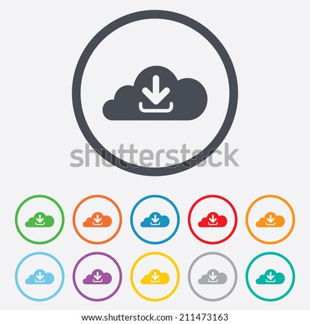 Download from cloud icon. Upload button. Load symbol. Round circle buttons with frame. Vector