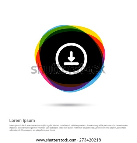 download icon, White pictogram icon creative circle Multicolor background. Vector illustration. Flat icon design style - stock vector