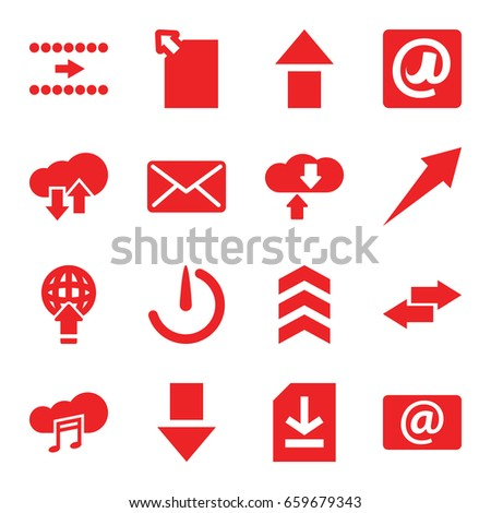 Download icons set. set of 16 download filled icons such as email, music cloud, file, at email, mail, stopwatch camera, arrow, arrow up