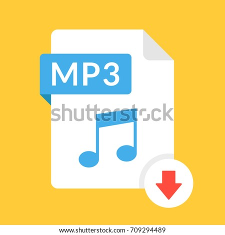 Download mp3 icon file mp3 label stock vector 709294489 shutterstock download mp3 icon file with mp3 label and down arrow sign audio file format stopboris Images