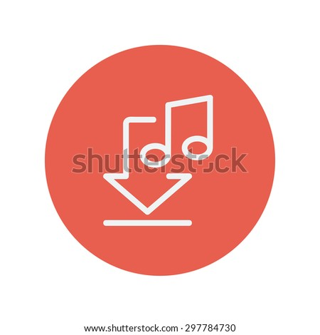 Download music thin line icon for web and mobile minimalistic flat design. Vector white icon inside the red circle - stock vector