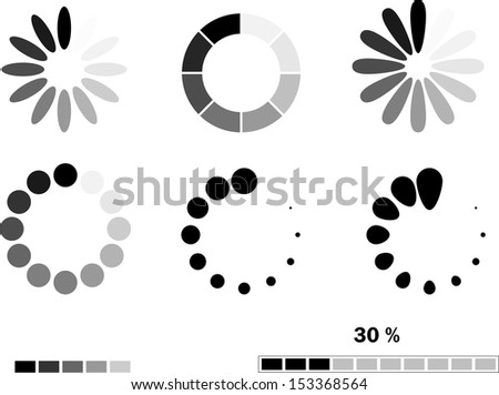 Download progress icon set. Vector illustration - stock vector