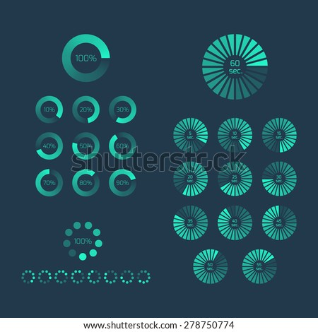 Download progress indicator set. Upload icon and sign, bar element, internet load. - stock vector