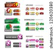 download, upload and report icons / collection of vector icons and buttons - stock vector