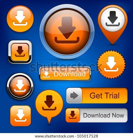 Download web orange buttons for website or app. Vector eps10. - stock vector