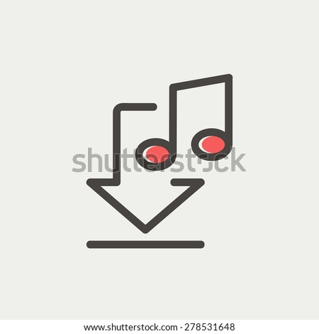 Downloaded music icon thin line for web and mobile, modern minimalistic flat design. Vector icon with dark grey outline and offset colour on light grey background. - stock vector