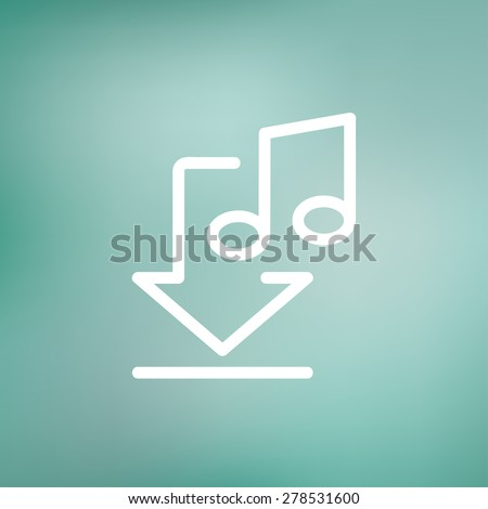 Downloaded music icon thin line for web and mobile, modern minimalistic flat design. Vector white icon on gradient mesh background. - stock vector