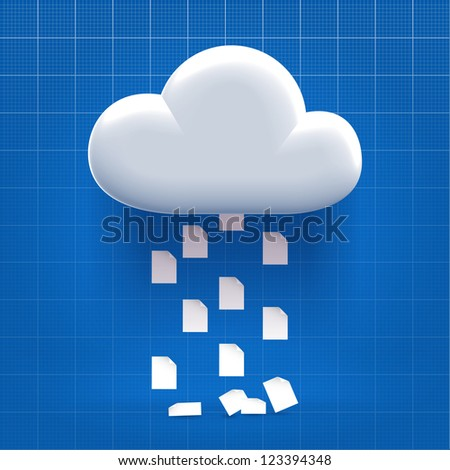 Downloading from cloud storage process - documents dropping down - stock vector