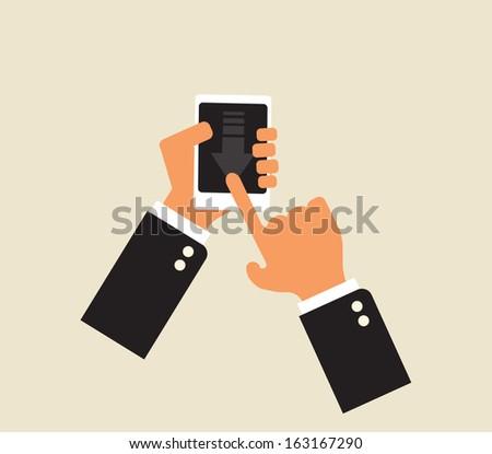 downloading mobile application: abstract smartphone in hands
