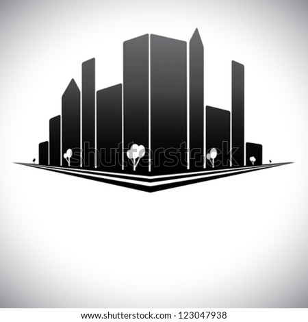 Downtown buildings in b & w of modern city skyline with skyscrapers, trees,  tall towers and streets in shades of black, white and grey - stock vector