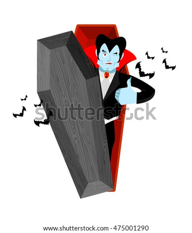 Dracula and coffin. Vampire Thumbs up shows well. Ghoul winks. Signs all right. happy Good bloodsucker. Mimicry smile on his face. Gesture of hand order. Illustration halloween. Bats and open casket