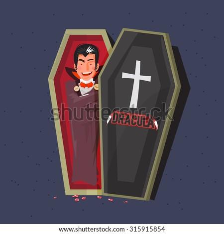 dracula in coffins. character design. halloween concept. typographic design - vector illustration - stock vector