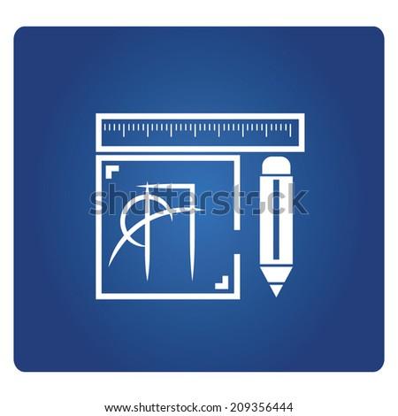 draft design tools, design tools - stock vector